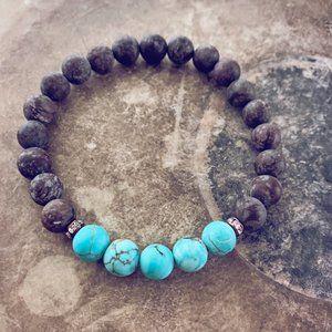 beaded gemstone wrist mala bracelet - turquoise